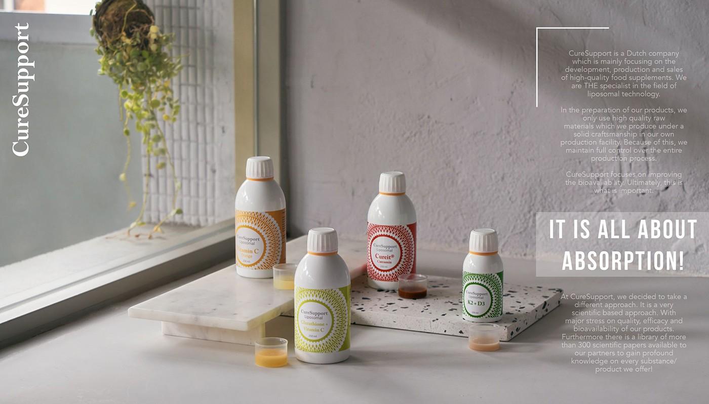 CureSupport全系列包含薑黃素、K2+D3、維他命C、穀胱甘肽
